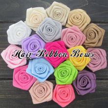 "Toplay 50pcs/lot 1.5"" Satin Silk Flower Ribbon Rolled Rosette Boutique Hair Flower Kids Hair Accessories Wedding Decoration"