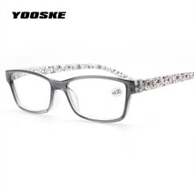 YOOSKE Reading Glasses Women Men Unbreakable Resin Eyeglasses Flower Colors Temple Presbyopic Eyeglasses 1.5 2.5 3.5