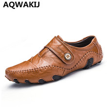 AQWAKIJ High Quality Genuine Leather Men Shoes Soft Moccasins Fashion Brand Men Flats Comfy Casual Driving Boat size 38-44(China)