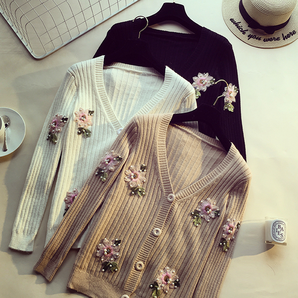 Sweaters V-Neck Full Sleeve Regular Cardigans Floral Single Breasted Standard Winter Spring Women Fashion 2018 Office Lady