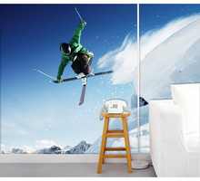 Free Shipping Hotel bar wallpaper extreme skiing theme KTV backdrop mural wallpaper