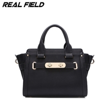 Real Field Brand Women Luxury Messenger Handbag Split Leather Shoulder Luxury Women Hobos Tote Bag Golden Lock Lady Purse  142