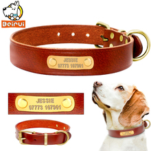 Personalized Dog Collars Genuine Leather Customized Vintage Dogs Collars Length Adjustable Engrave for Medium Large Breeds Pets(China)