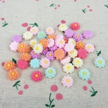 100 Pieces Mixed Color Flatback Flat Back Resin Flower Cabochon Kawaii DIY Resin Craft Decoration For Scrapbooking Charm:10mm