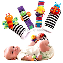 2016 Lowest price(4pcs/lot=2 pcs waist+2 pcs socks) New Hot Toy Baby Rattle toy Rattle Foot Socks Garden Bug Wrist Free shipping(China)