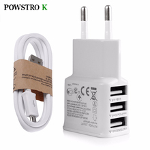 3 USB Phone Charger Fast Charging 3A Adapter + Micro USB Cable Wall AC Charge for Samsung iPhone 6 6S Plus All Phone