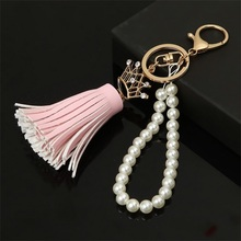 2017 Camellia Leather Tassels Keychain Fashion Long Key Chain Buckle Bag Pendant Car Ornaments Jewelry