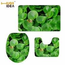 HUGSIDEA Toilet WC Non-slip Carpet Creative Green Leaves Prints Bathroom 3PCS Set Area Rugs 3D Owl Home Hotel Decor Soft Pads