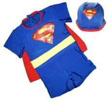 KEENEST Summer Superman Swimming Cap +Swimsuit Suits One Piece Swimwear Clothes Para For Children Toddler Babys Kids Boy