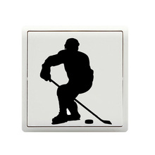 Fashion Hockey Player Bedroom Switch Stickers Wall Door Home Decal 5WS0403(China)