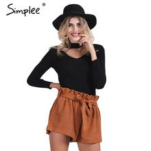 Simplee Slim halter knitted sweater women tops Autumn winter 2016 white v neck short pullover Casual black jumper pull femme