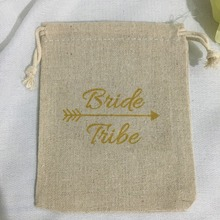 gold Bride tribe wedding Hangover Kit jewelry favor muslin Bags Bachelorette hen bridal shower Champagne Party gift bag