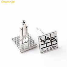 GraceAngie 1pair Silver Colored Square Shape Alloy Metal Buy Now Carved Trendy Stylish Cufflinks Sterling Suit Accessory 17*17mm(China)