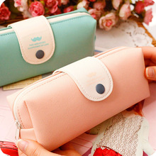 korean candy color pencil case PU leather school pencil bag for girl stationery estojo escolar school supplies(China)
