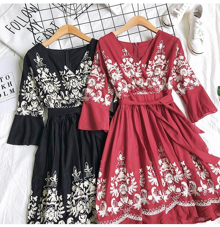 2019 Spring Summer V-neck Embroidery Dress Flare Sleeves Bohemian Dress Belted Ethnic Loose Vintage Dress 50