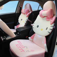2017 NEW 3D ICE SILK Universal  Hello Kitty Car Seat Covers Cartoon for Summer car interior Accessories+steering wheel