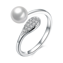 Fine Jewelry Fashion 925 Sterling Silver Simple Pearl Ring Women Party Wedding Jewelry Adjustable Ring Gift for Girl