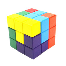 Wooden Classic Tetris Block Table Games Square wooden soma multicolour assembling building blocks toy cube magic IQ kids toys
