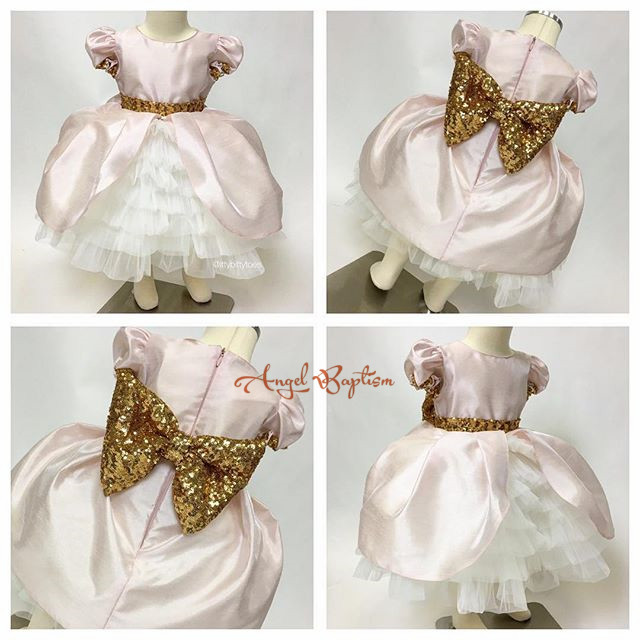 New Cute Golden sequined Sash PInk Tiered Flower Girl Dresses 1 year Birthday little girls ball gowns dresses with Big bow
