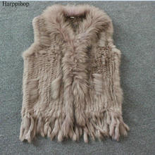 Harppihop Free shipping womens natural real rabbit fur vest with raccoon fur collar waistcoat/jackets rex rabbit knitted winte(China)