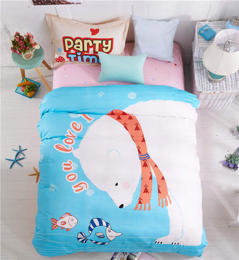 Polar Bear Printed Bedding Set 100 Cotton Bedclothes Single Twin Double Size Children S Home