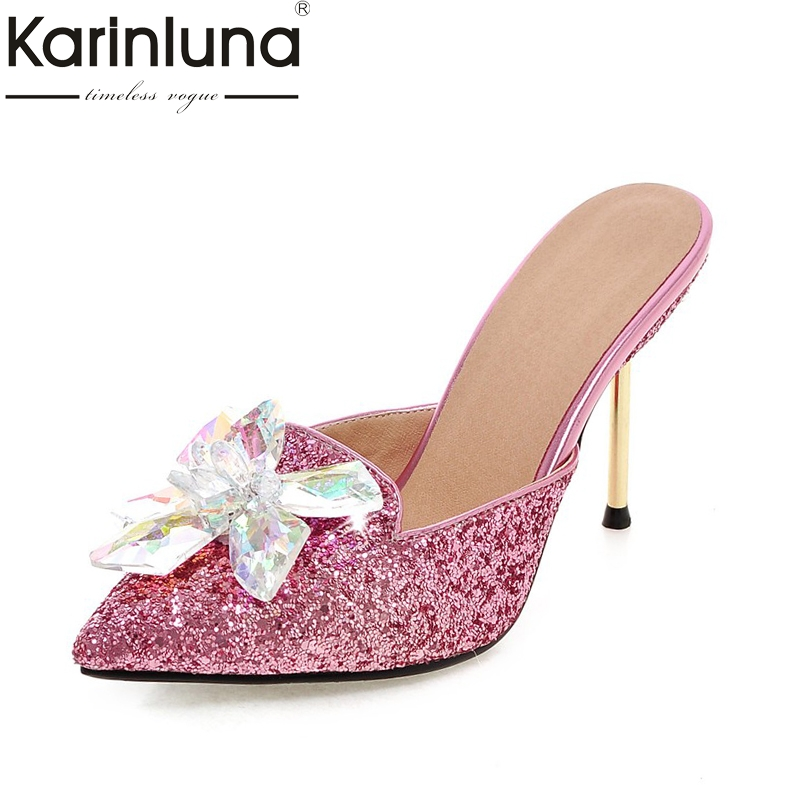 KARINLUNA 2018 plus size 32-43 crystal fashion brand shoes women sexy high heels pointed toe party wedding mules pumps woman<br>
