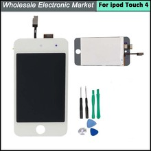 100% Guarantee LCD Screen+Touch Screen Digitizer+Glass Assembly For iPod Touch 4 Replacement +Tools Set,Free Shipping
