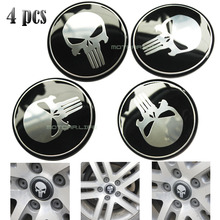 55mm/60mm Punisher Logo Car Steering Wheel Center Hub Cap Emblem Badge Decal Symbol Wheels Sticker For Dodge Ford Toyota 4pcs(China)