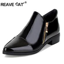REAVE CAT Big size 33-43 Fashion Sexy Women shoes Patent leather Zip Pointed toe Flats Black Wine red Women casual shoes QL3460
