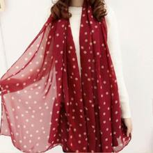 Wine Red Style Real chiffon Classic Polka Dot Scarf Long Chiffon Scarf Women's Korean Version Silk Scarf Newest