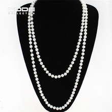 Vintage 10mm Big Imitate Shiny Pearl Necklace Fashion Black Pearl Statement Necklace Wedding Party Jewelry Maxi Collier