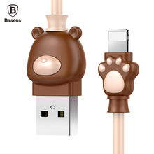 Baseus Cute Bear USB Cable For iPhone X 8 7 6 6s Plus 5 5s Mobile Phone Cable Fast Data Sync Charging For iPhone Charger Cable(China)