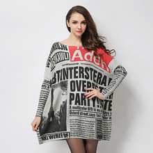 Beautiful new fashion spring 2017 newspapers printed big yards women's pullovers loose bat sleeve knit dress