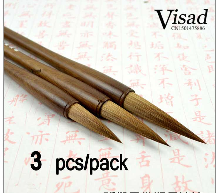 3pcs/pack weasel hair Chinese Painting Brush Grey small set traditional chinese painting calligraphy brush Art Supply<br>