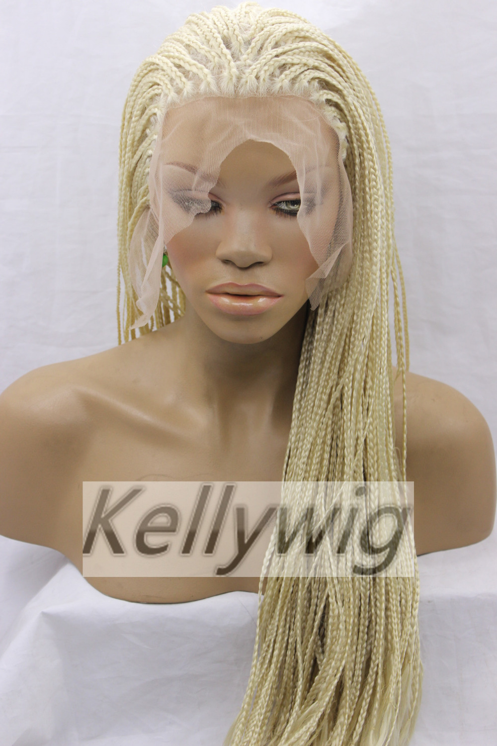 Free Ship Glueless Lace Front Wig Length 16-28  braid HairWig Blonde Color #613 Synthetic Hair Heat Resistant Full Wig<br><br>Aliexpress