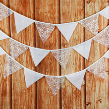 3.2M Vintage Chic burlap linen lace bunting flags pennant for party wedding garland decoration product supply Free Shipping