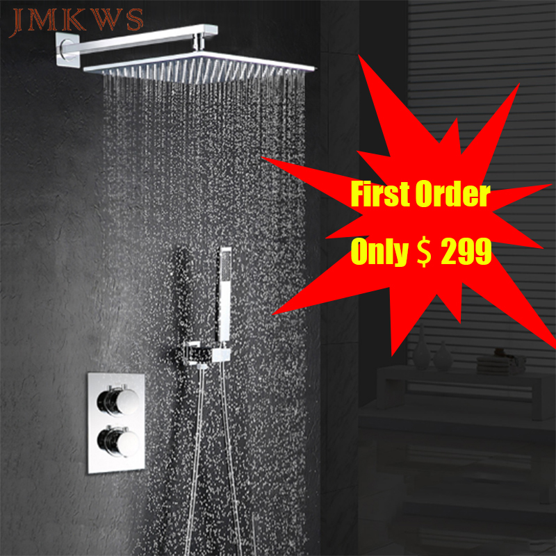 JMKWS Thermostatic Rainfall Shower Head Set Ceiling Mount Bath & Shower Faucets 12 Top Shower Panel With Rain Shower Hand ducha(China)