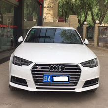 For New Audi A4 B9 S4 Style chrome emblem Black Front Bumper Mesh Grill Grille 2016UP(China)