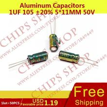 1LOT=50PCS Aluminum Capacitors 1uF 105 20% 5*11mm 50V 1000nF 1000000pF Diameter5mm