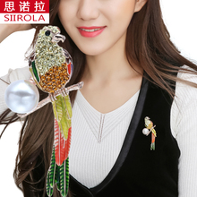 Gold-color Brooches Jewelry Colorful Crystal Imitation pearl Hand painting Parrot Swing tail Breastpin Scarves Hijab Lapel pins(China)
