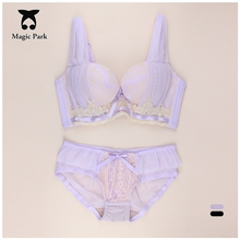 New Arrival For AB Cup Lolita Style Massage Bra Brief Sets Push up Girl's ladies' Sexy Bra Sets Cute Padded Bra Women Underwear(China)
