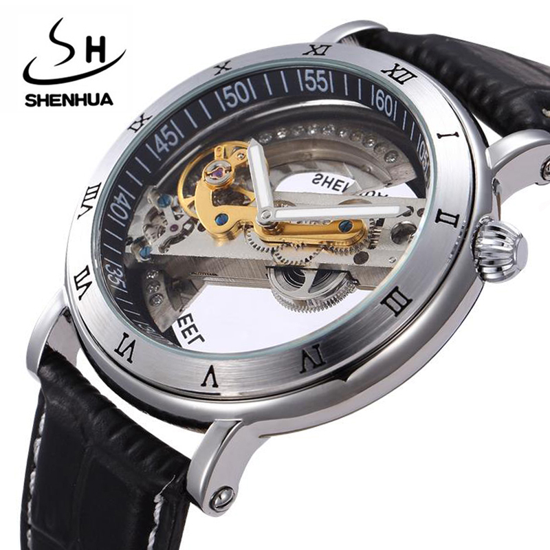Brand Automatic Mechanical Watches Men Retro Steampunk Skeleton men watches gifts box montre homme relojes hombre<br>