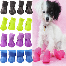 4pcs Soft Rubber Dog Shoes Waterproof Anti-skip Dog Boots Pet Outdoor Rain Boots S M L Size Candy Color(China)