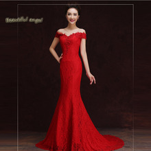 Summer Dress Vintage Sexy Red Dress Tulle Long Wedding Gowns High Quality Women Bridal Gown Party dresses embroidery Robe(China)
