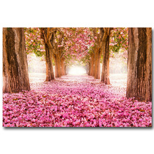 NICOLESHENTING Cherry Blossoms Forest Path Art Silk Fabric Poster Print 13x20 24x36inch Flowers Trees Nature Wall Pictures