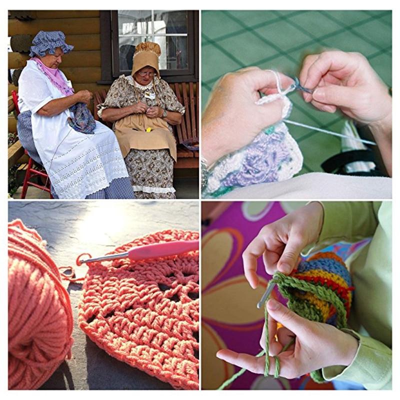 12pcs Crochet Hooks Set Ergonomic Multicolor 2.0-8.0mm Knitting Needles Soft Rubber Handle Crochet Needles For Any Yarn Weave (11)