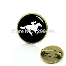Novelty Interesting sport silhouette brooches Classic Collection horse racing pins Elegant and charming  badge C 965