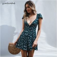 Buy yinlinhe V neck Summer Dress Floral Bowknot Tie Sexy Button Dress Women Short Sleeve Elegant Slim Waist Vestidos 350 for $15.99 in AliExpress store