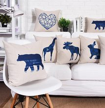 Free Shipping!Character blue animal square throw pillow/almofadas case 45 53 60 teen,cool giraffe deer cushion cover home decore