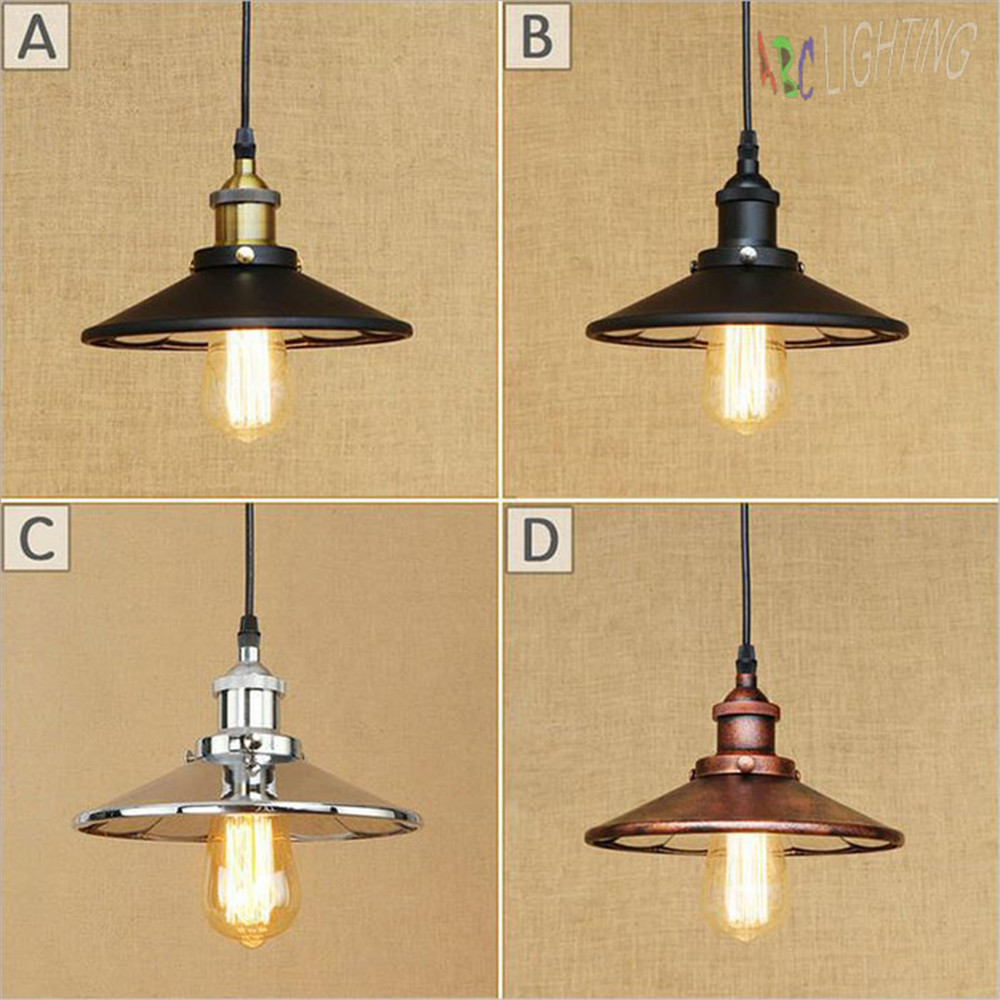 American Style Pendant Lamp Black Chrome Rustic Kitchen Pendant Light Aluminum/ Chrome 110-240V four Colors Dinning Lighting<br>